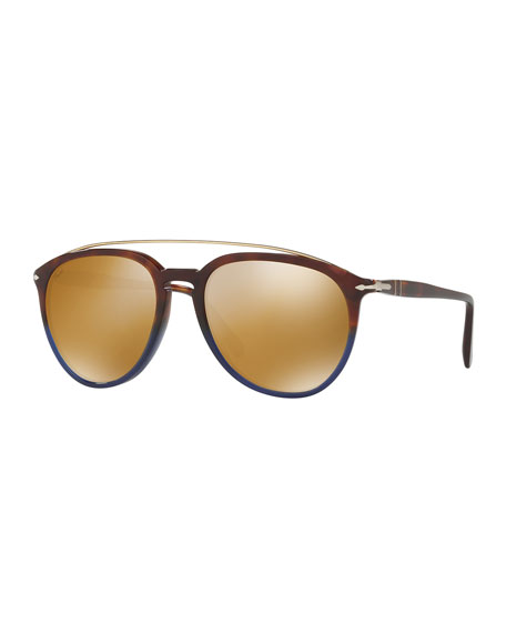 Persol Reflex Edition PO3159S Mirrored Pilot Sunglasses, Terra
