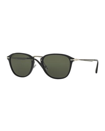 Calligrapher Edition PO3165S Acetate Polarized Sunglasses, Black
