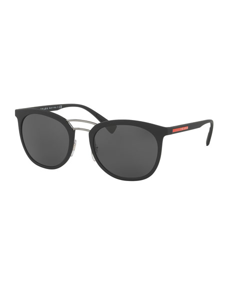 Prada Linea Rossa Men's Double-Bridge Phantos Sunglasses, Black