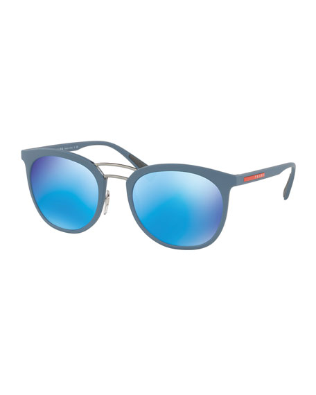 Linea Rossa Men's Double-Bridge Phantos Sunglasses, Blue