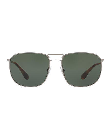 Men's Classic Metal Square Sunglasses, Gray