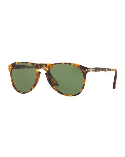 714-Series The Evolution Folding Pilot Sunglasses, Madreterra/Green