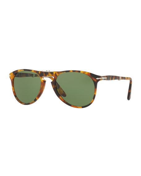 714-Series The Evolution Folding Pilot Sunglasses, Madreterra/Green