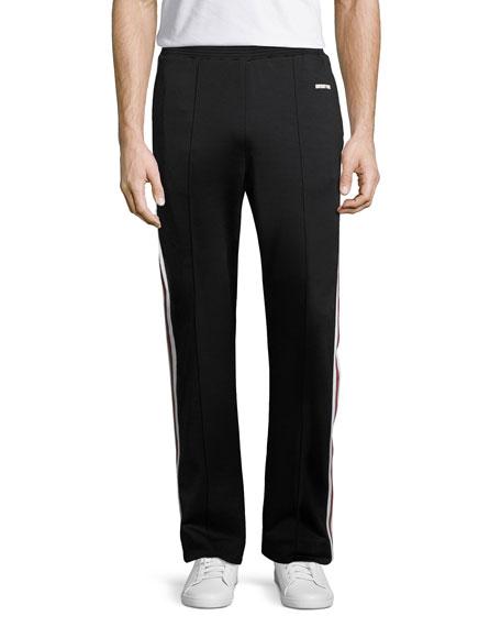 Side-Stripe Track Pants, Black