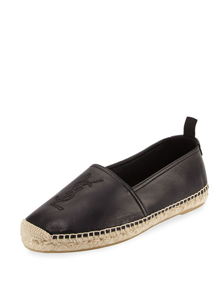 Saint Laurent Men's Monogram Leather Espadrille, Black