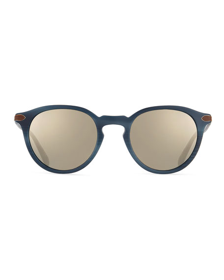 Rue Marbeuf 52 Round Acetate Sunglasses, Grigio/Graphite
