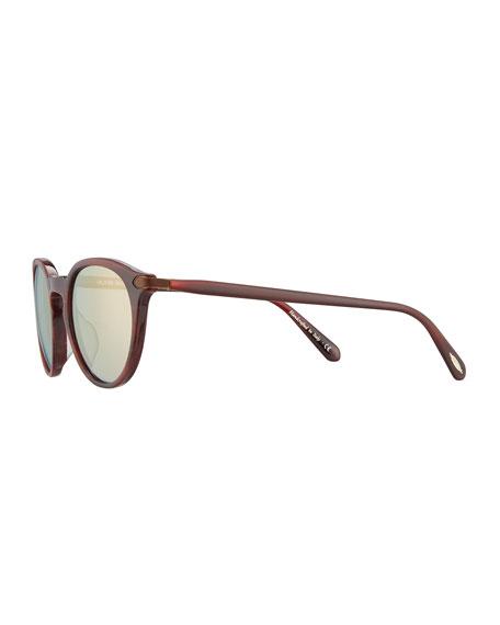 Rue Marbeuf 52 Round Acetate Sunglasses, Nero Verde/Golden
