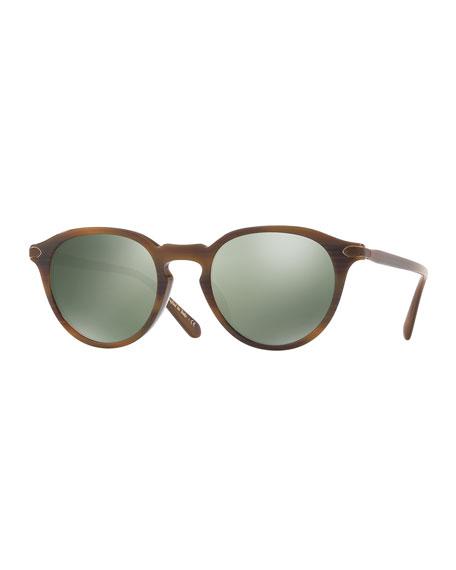Rue Marbeuf 52 Round Acetate Sunglasses, Nero Verde/Bourbon