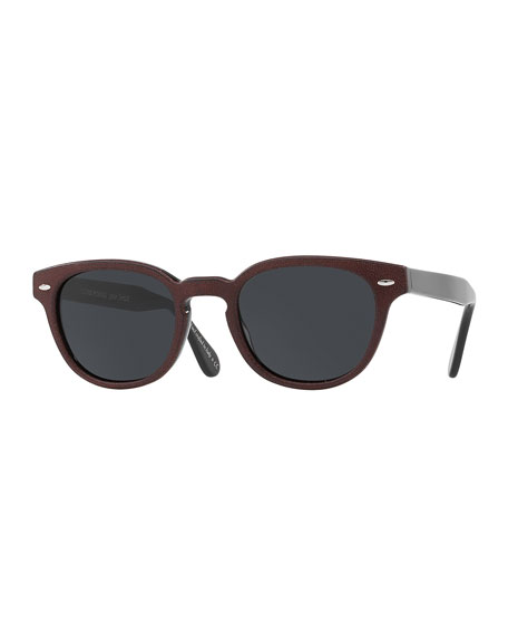 Sheldrake Leather 49 Mirrored Round Acetate Sunglasses, Nero Grigio