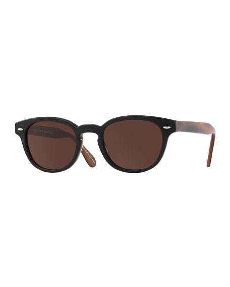 Sheldrake Leather 49 Round Acetate Sunglasses, Tobacco Bis