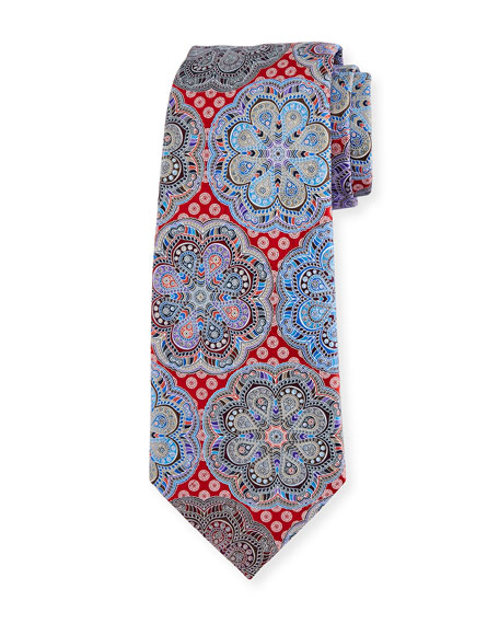 Ermenegildo Zegna Quindici Flower Medallion Tie, Red