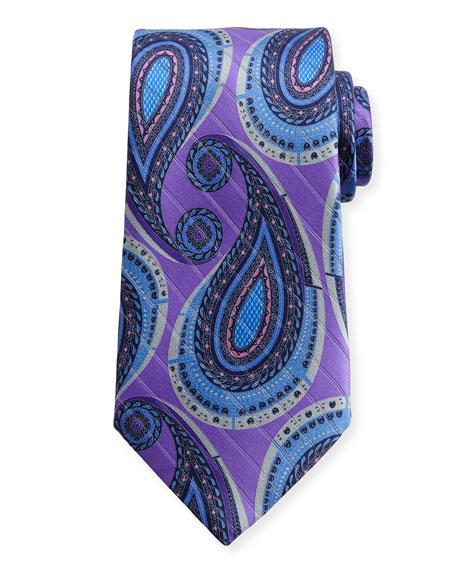Metallic Paisley Silk Tie, Purple
