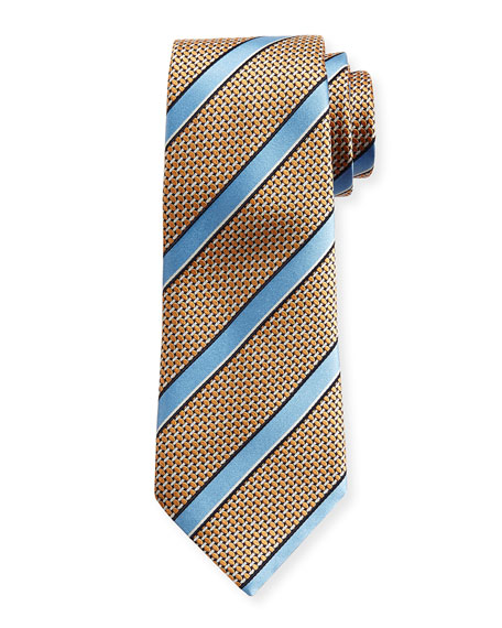 Satin-Stripe Basketweave Silk Tie, Orange
