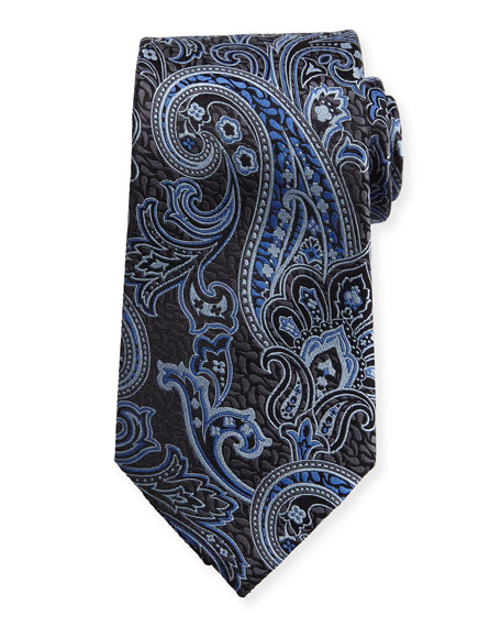 Ermenegildo Zegna Silk Paisley Tie, Navy
