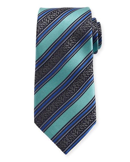 Ermenegildo Zegna Satin-Stripe Herringbone Silk Tie, Blue