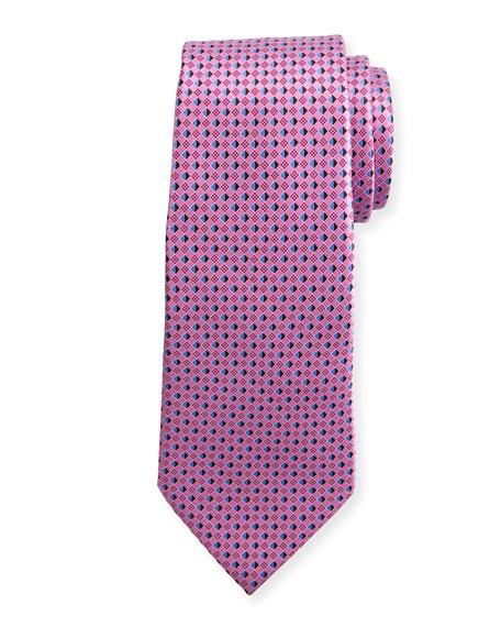 Ermenegildo Zegna 3D Micro-Diamond Neat Tie, Pink