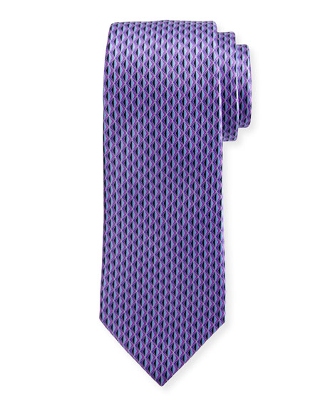 Ermenegildo Zegna 3D Diamond Neat Tie, Purple