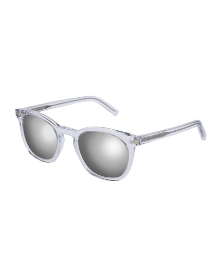 Classic 28 Mirrored Square Acetate Sunglasses, Crystal