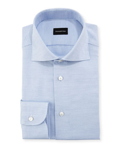 Stair-Weave Cotton Dress Shirt