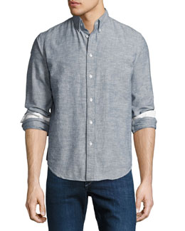 Tomlin Slim-Fit Chambray Sport Shirt, Indigo