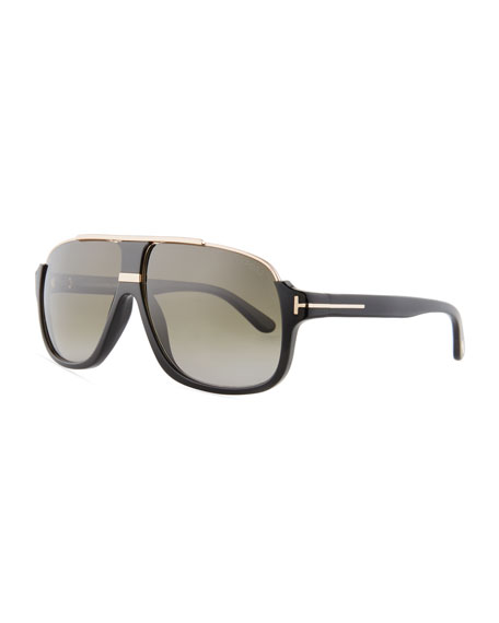 TOM FORD Elliot Universal-Fit Aviator Sunglasses, Shiny