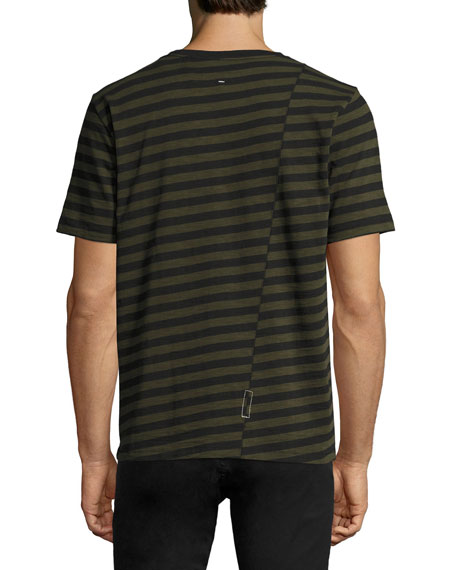 Blake Clashing-Stripes Crewneck T-Shirt, Olive