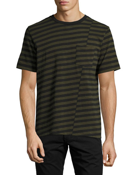 Rag & Bone Blake Clashing-Stripes Crewneck T-Shirt, Olive
