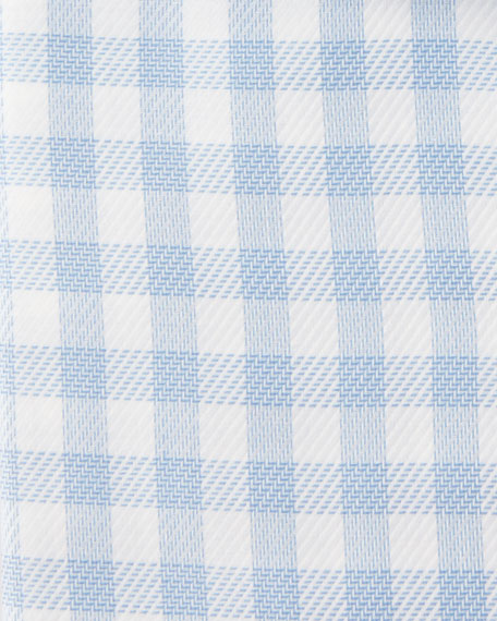 Gingham-Print Cotton Dress Shirt