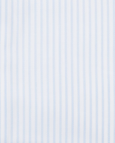 Striped Barrel-Cuff Dress Shirt, White/Light Blue