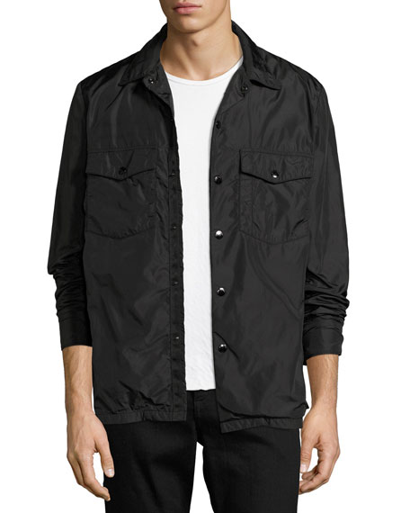 Heath Nylon Shirt Jacket, Black