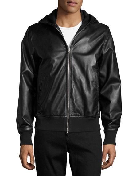 Men's Christopher Black Leather Hooded Bomber Jacket
