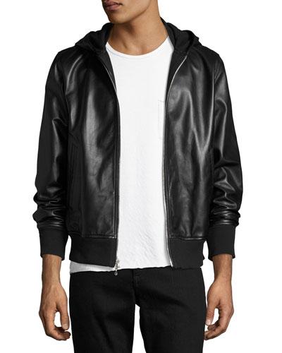 Christopher Black Leather Hooded Bomber Jacket, Black
