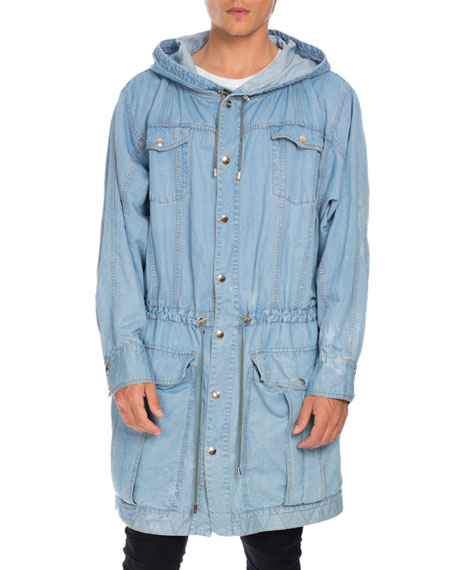 Distressed Long Denim Parka, Light Blue