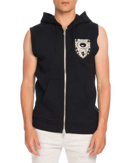 Balmain Embellished-Crest Sleeveless Zip-Up Hoodie Vest, Black