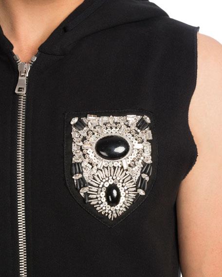 Balmain Embellished Crest Sleeveless Zip Up Hoodie Vest Black