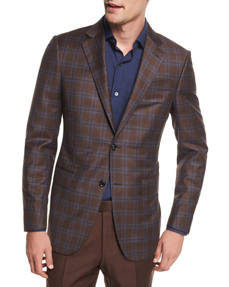 Ermenegildo Zegna Plaid Trofeo® Wool Two-Button Blazer