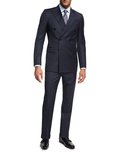 Tonal Check Wool Double-Breasted Two-Piece Suit  Navy