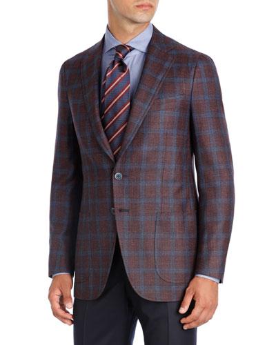 Plaid Wool-Silk-Linen Two-Button Sport Coat