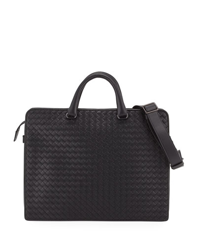 Intrecciato Calf Leather Briefcase, Black