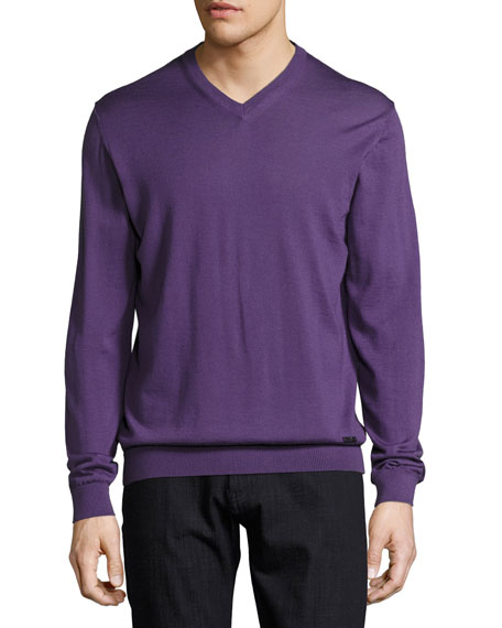 Wool V-Neck Sweater, Purple
