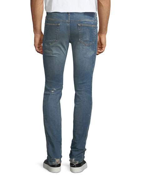 Side-Stitch Slim-Straight Jeans