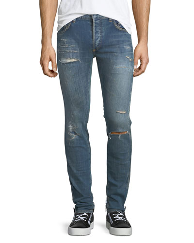 Side-Stitch Slim-Straight Jeans
