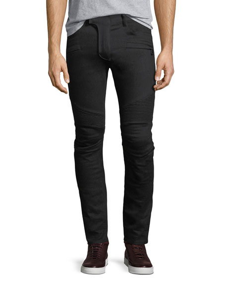 Balmain Skinny-Fit Saturated Clean Denim Biker Jeans