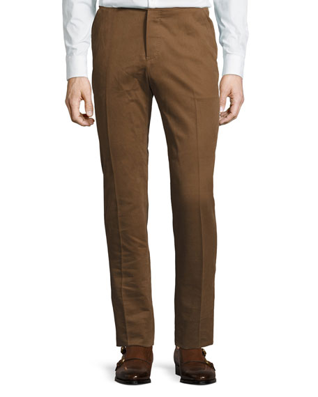 Berluti Leather-Pocket Cotton Slim-Straight Pants