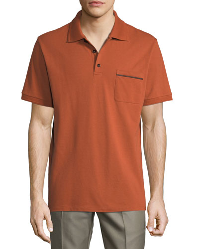 Polo Shirt with Leather Detail