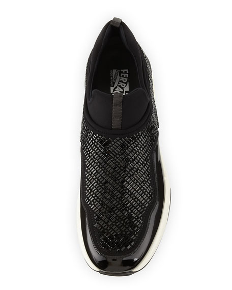 Crystal Slip-On Sneaker, Nero