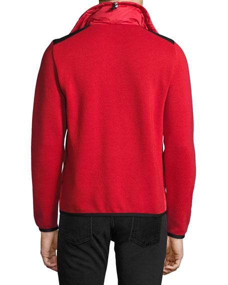 Puffer-Front Zip Sweater