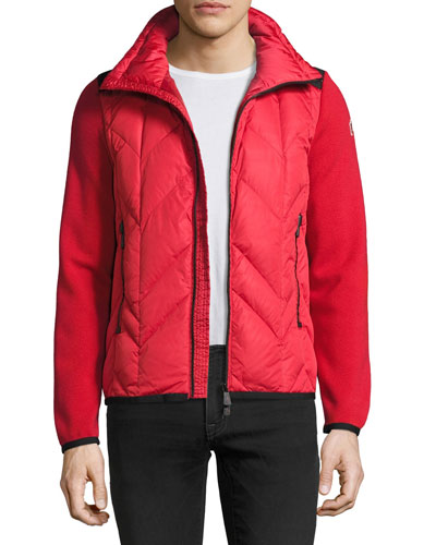 Puffer-Front Zip Sweater