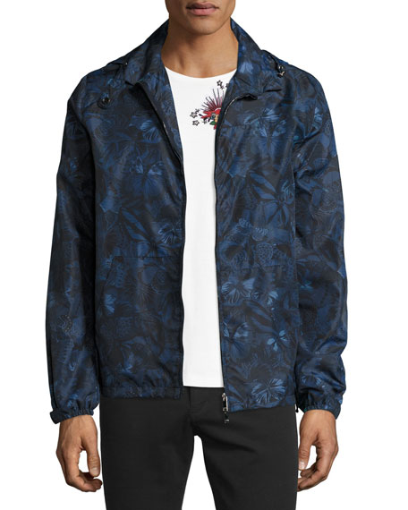 Valentino Camu Butterfly Zip-Front Jacket, Navy