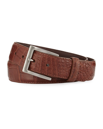 Matte Alligator Belt with Interchangeable Buckles